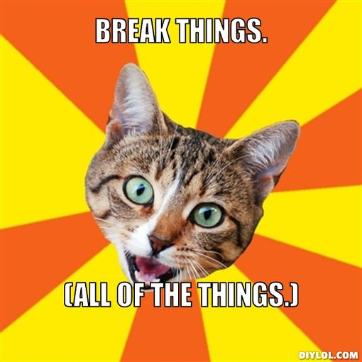Image result for cat breaking things meme